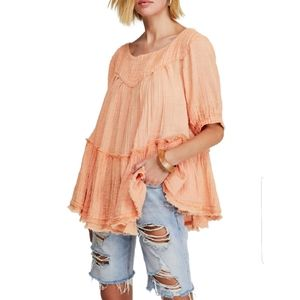 FREE PEOPLE Mystery Land Tunic in Peach